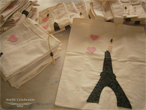 Ecobags Paris 35 x 40 cm - Confecção em tecido algodão cru