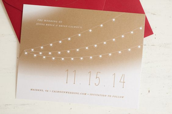 Wedding Save the Date by Dejlige Creative :: Richmond, VA :: Café lights, metallic gold, rustic outdoor