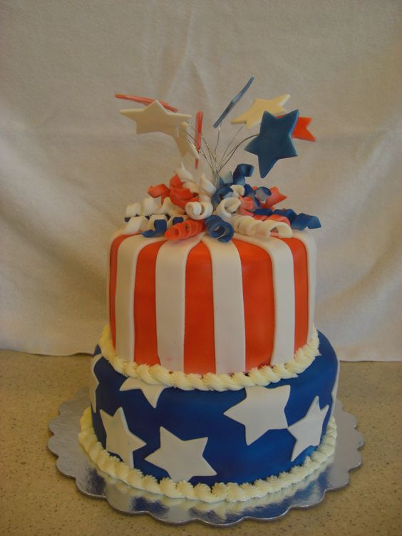 - 4th of July Cake. It was a white cake and I marbled the inside to be red, white & blue.