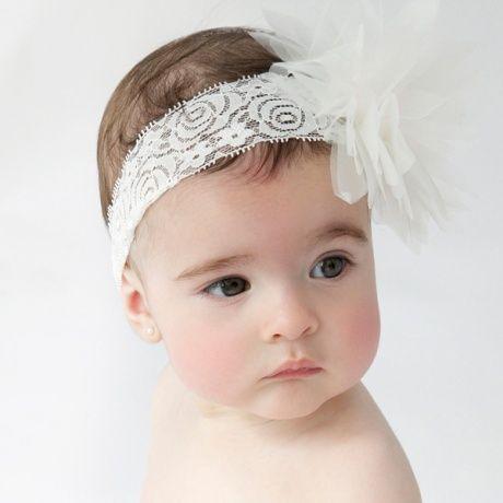 Cinta para el pelo para bebés o recién nacido. Encaje elástico.
