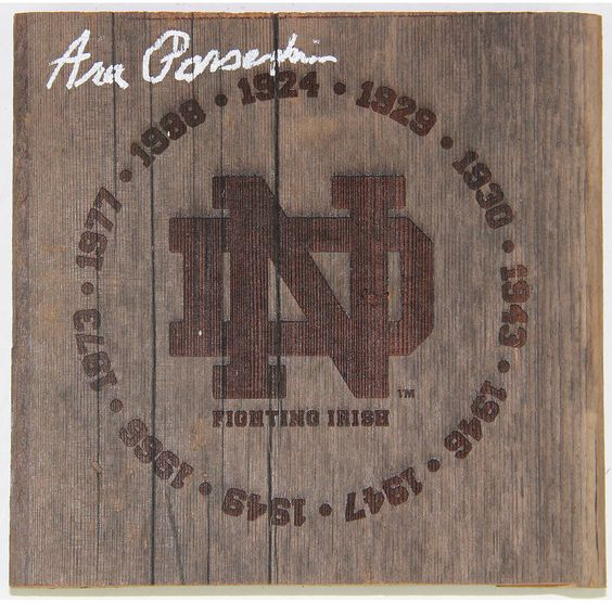 Ara Parseghian Signed Notre Dame Fighting Irish Engraved 7x7 Bench Slab with National Champion Years