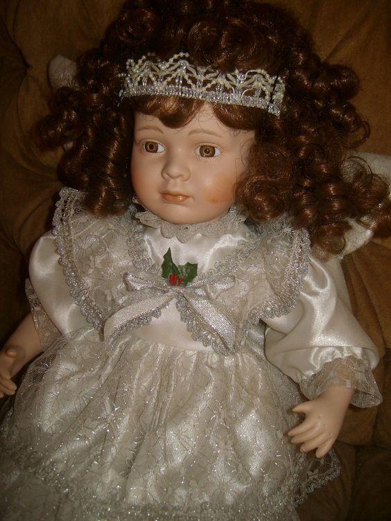 Ceramic Angel Doll w/ brown hair white dress