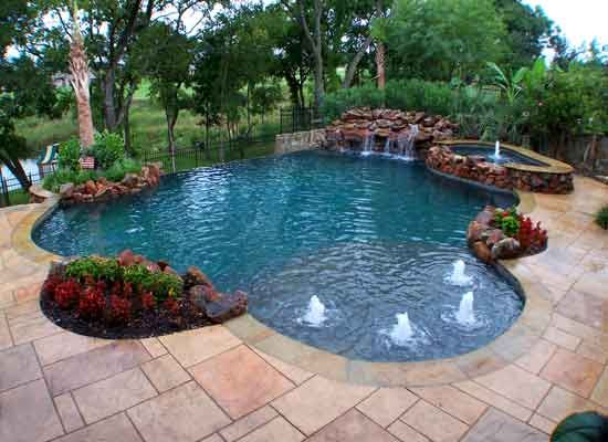 Amazing Swimming Pool Designs Offer Entertaining Beautiful Landscape: Chic Swimming Pool Designs With Irregular Shape Design