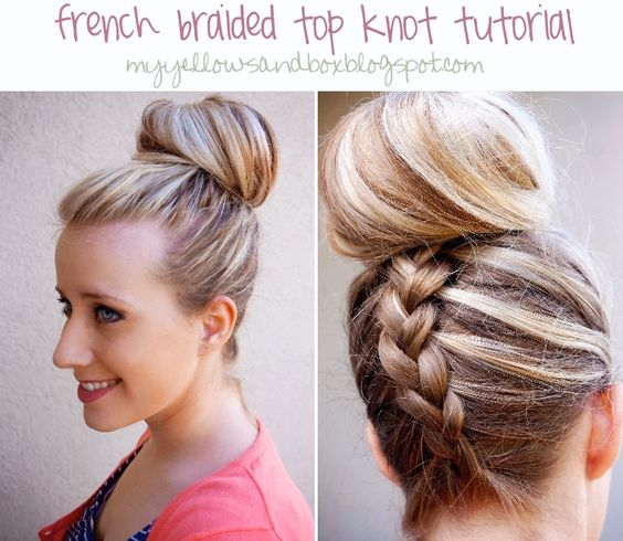 French braided top knot tutorial // #blonde_hair #braids #bun #updo #cute #hair #hairstyles #tutorials