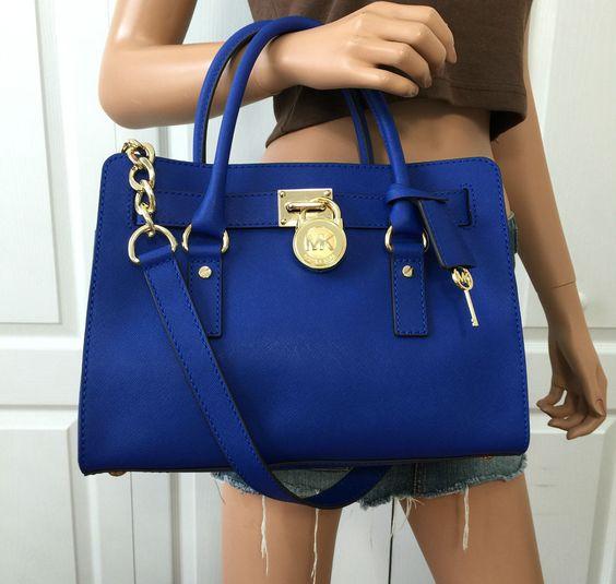 NWT Michael Kors Hamilton Blue Saffiano Leather Satchel Shoulder Gold Bag Purse #MichaelKors #ShoulderBag