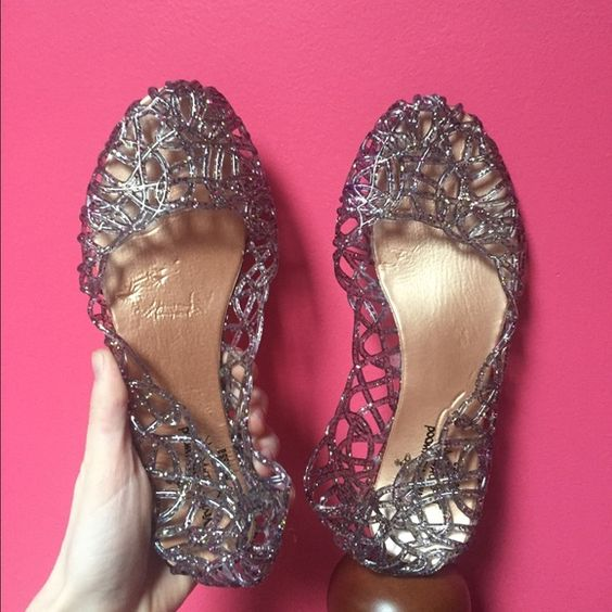 Espresso Jelly Flats - European Size 37 These sparkly grey ...