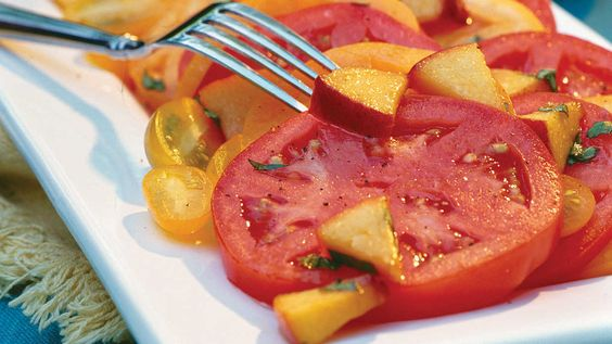 Sliced Tomatoes With Fresh Peach-Basil Vinaigrette - 68 Quick and Delicious Summer Salads - Southern Living - Recipe: Fresh Peach-Basil Vinaigrette  It's a simple but unexpected combination of flavors – and absolutely delicious. You'll taste how special it is with the very first bite.
