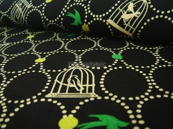 Sale  Free Birds in Black  Japanese Cotton  by IKOplusFabric
