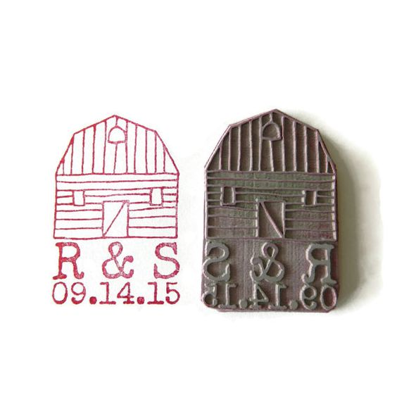 custom wedding monogram amp date barn stamp custom