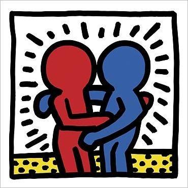 Afbeeldingsresultaat voor keith haring hug red blue