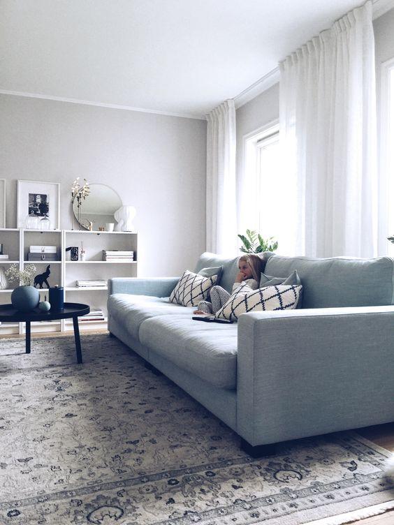 Turkos Valen XL soffa. Djup soffa, låg soffa, linne, möbler ...