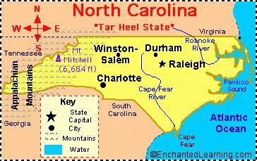 Printable Map of NC Cities   North Carolina: Facts, Map and State Symbols - EnchantedLearning.com