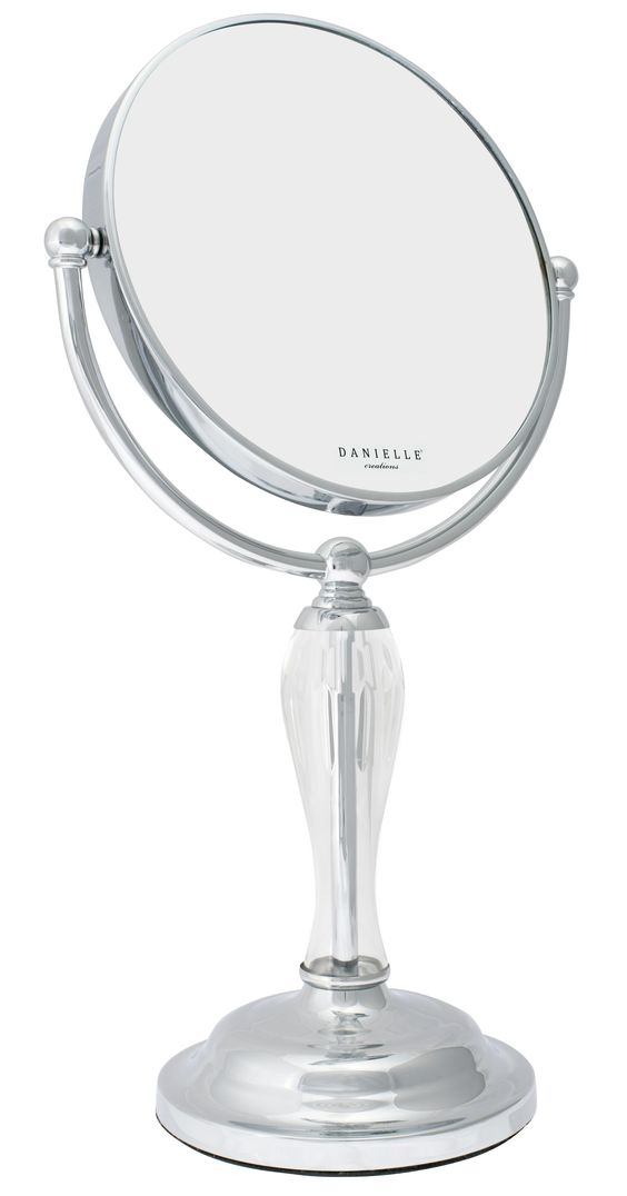 Add romance to your dresser with this beautiful chrome plated vanity mirror.