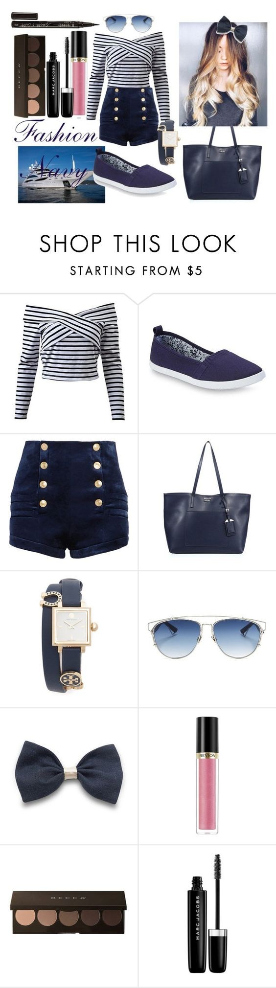 """Navy girl"" by jenssitmode1 on Polyvore featuring Pierre Balmain, Prada, Tory Burch, Christian Dior, Revlon, Marc Jacobs and Smith & Cult"