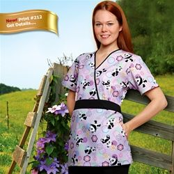 Crossover Tunic Scrub Top by Adar Medical Scrubs. Classic embroidery along the crossover neckline and midriff combines well with stylish details like shaping darts, novelty pockets and a wider back tie belt. #scrubs.com