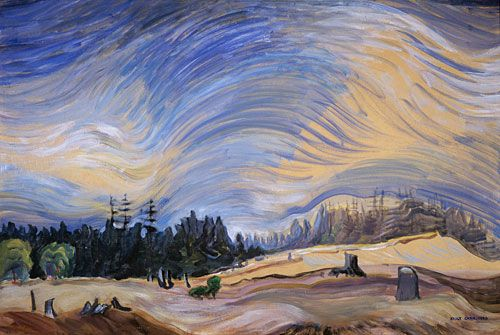 Above the Gravel Pit, 1936 by Emily Carr. oil on paper. Carr was born in British Columbia, and is one of Canada's most renown artists. She is well known for her totem paintings and rain forest depictions. I love her landscape works, and also her paintings of trees (Cedar, 1942)