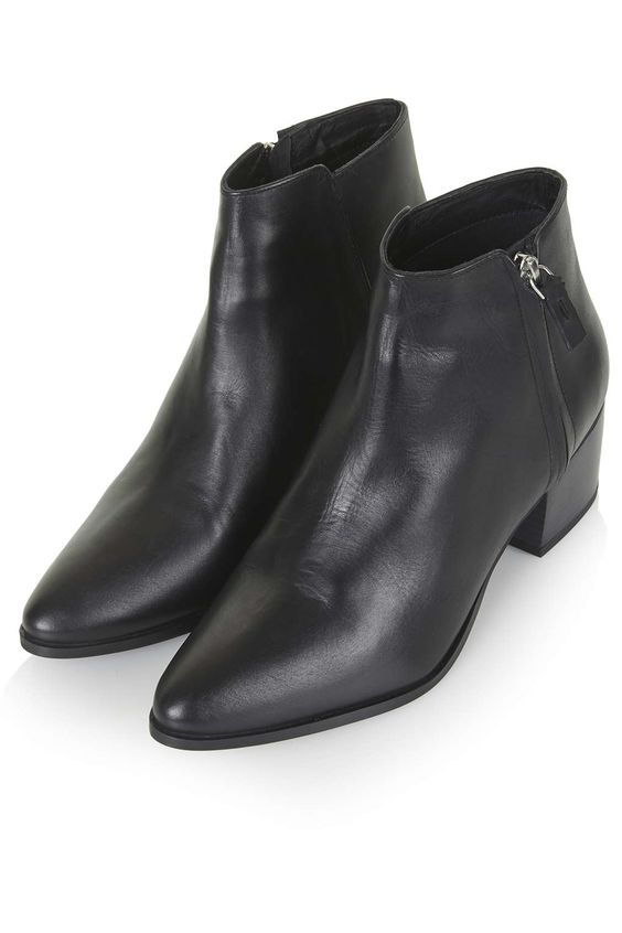 Black Leather Point Ankle Boots - Topshop BARDOT Heeled Ankle ...