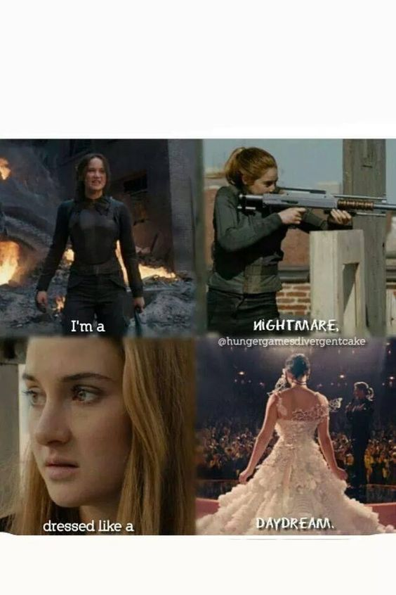 I'm a nightmare      dressed like a daydream.  Kattris.  Hunger Games. Divergent.
