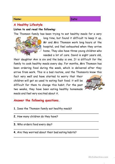 20++ Reading comprehension health worksheets Images
