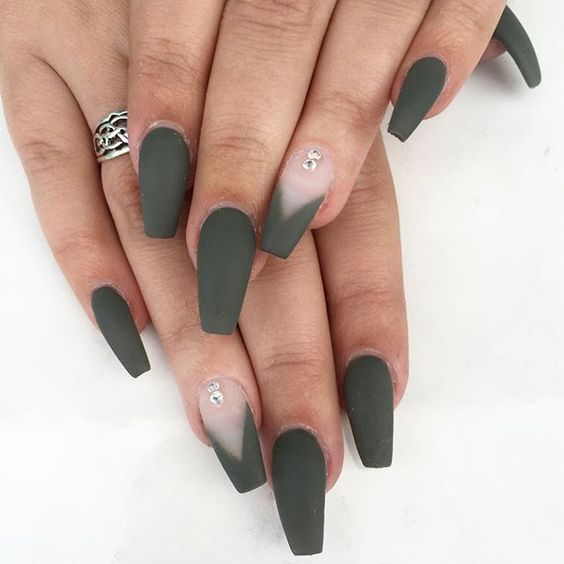 Trend Fall Nails Green Color Art Designs 2018 in 2019