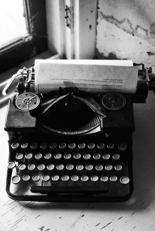 Vintage black and white photography old typewriter love