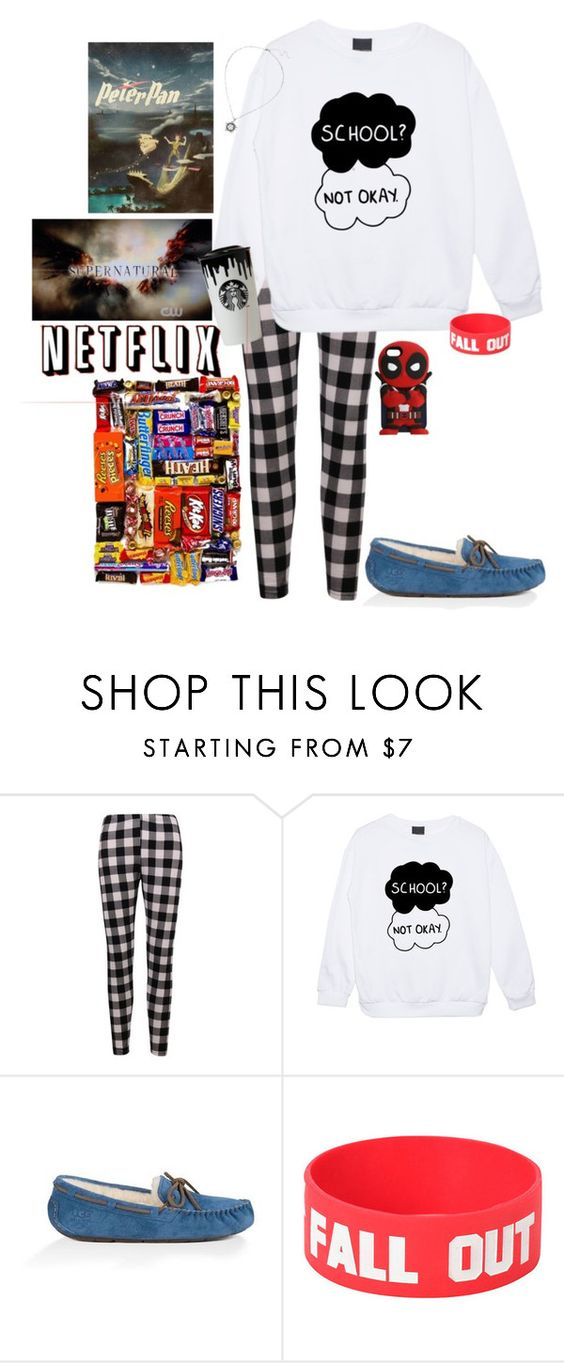 """Watching my little bros, hangin out, watchin Netflix"" by young-volcanoes-74 ❤ liked on Polyvore featuring UGG Australia, Disney and Band of Outsiders"