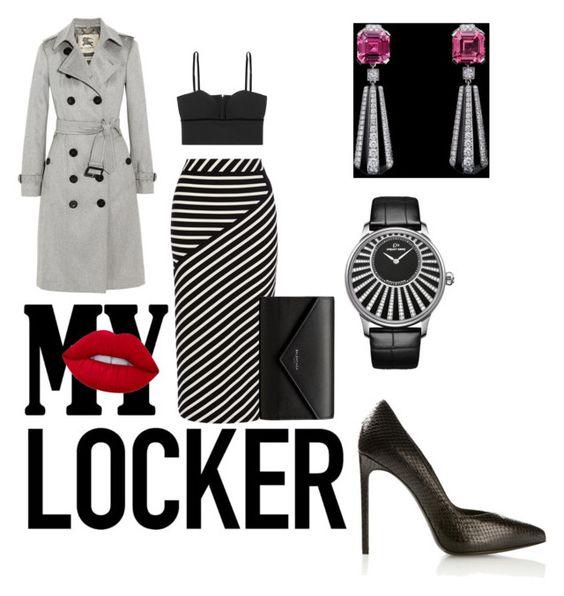 """smart   streetstyle  outfit"" by avestaisikli on Polyvore featuring moda, Burberry, Karen Millen, Alexander McQueen, Yves Saint Laurent, Lime Crime, Jaquet Droz ve Balenciaga"