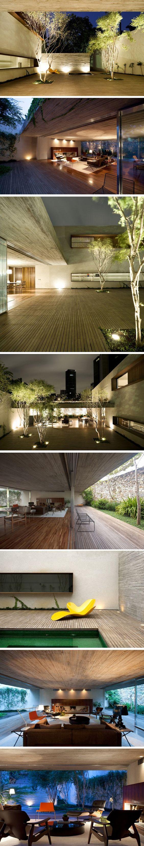 Chimney House by Marcio Kogan – Studio MK27. Sao Paulo. Love elongated one level homes with adjoinable spaces