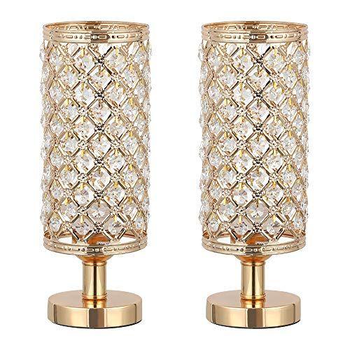 Haitral Crystal Table Lamp Set Of 2 Elegant Decorative Https Www Amazon Com Dp B07t2zn9j5 Ref Cm Crystal Table Lamps Vintage Table Lamp Nightstand Lamp