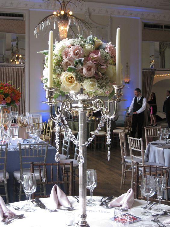Tall candelabra wedding centerpieces