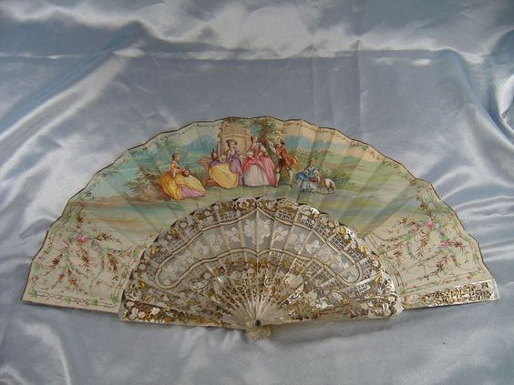 ANTIQUE 1860-70  FRENCH MOTHER OF PEARL & HAND PAINTED PAPER FAN
