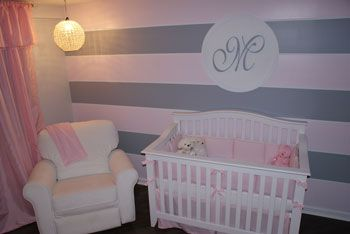 pink and gray nursery ideas | Pink, Grey and Bling!, A pink and grey baby nursery with crystal ...