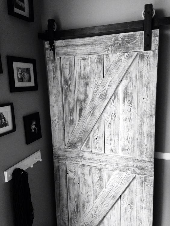 Rustic White And Grey Double Cross Interior Barn Door From Goatgear Interior Sliding Barn