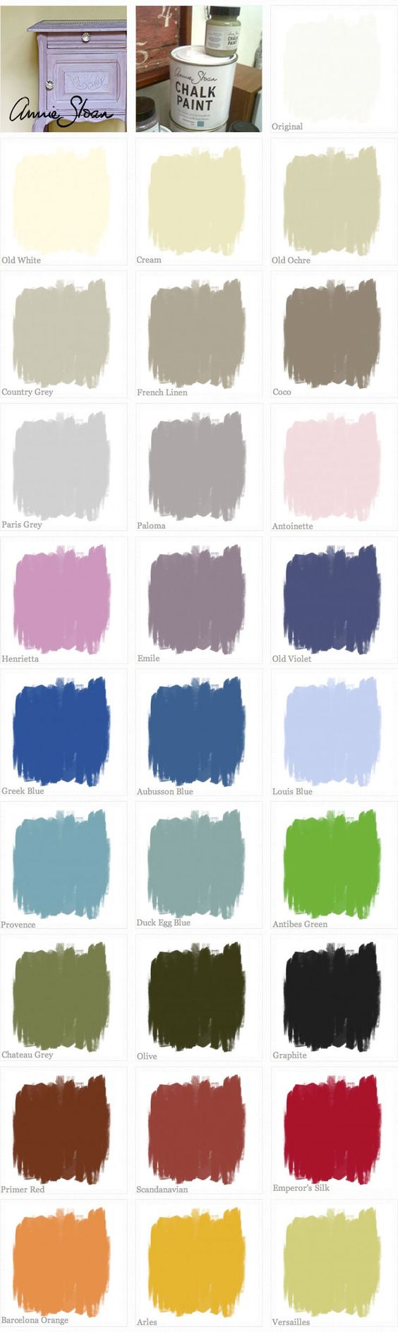 CHALK PAINT :: Annie Sloan Chalk Paint Color Swatches (missing Napoleonic Blue...a dark blue)