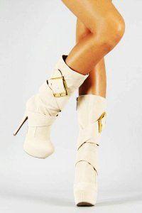 White Platform High Heel Boots - Cute High Heel Boots | Shoes ...