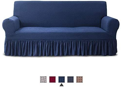 Amazon Com Niceec Sofa Slipcover Blue Sofa Cover Two Tone 1 Piece Easy Fitted Sofa Couch Cover Universal High Stretch Durabl In 2020 Blue Sofa Couch Covers Slipcovers