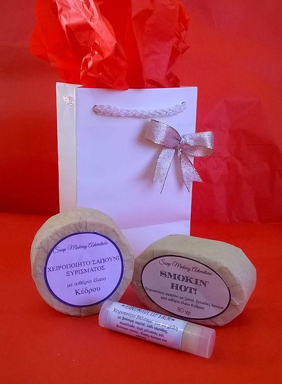 Κάτι για τους άνδρες...#Χειροποίητο #σαπούνι #ξυρίσματος, σαπούνι για το πρόσωπο και το σώμα και ένα lip balm χωρίς γεύση.