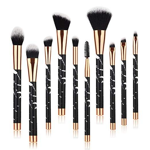 Beauty Kate Marble Makeup Brushes 10 Pcs Makeup Brush Set Premium Face Eyeshadow Eyebrow Blush Contour Cosmetic Brush Set Makeup Brush Set It Cosmetics Brushes