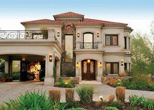Mediterranean House Designs Exterior Me Gusta Que El Garage No Está Cerrado Y Que El Espacio Arriba Se .