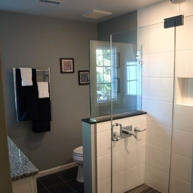 Toilet beside shower half wall bathroom pinterest for Bathroom ideas 5x5