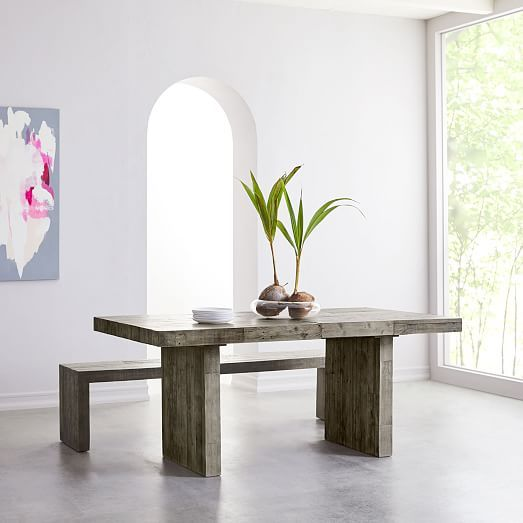 Emmerson 174 Reclaimed Wood Expandable Dining Table Stone Gray