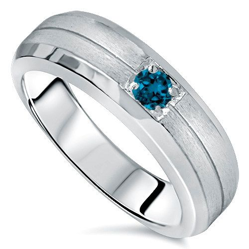 Blue Diamond Solitaire Brushed Wedding Mens Ring 14K White Gold