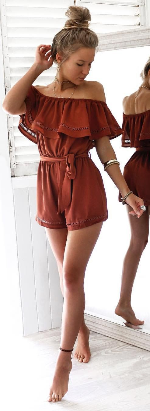 #summer #outfits Rush Ruffle Off The Shoulder Romper ✌️