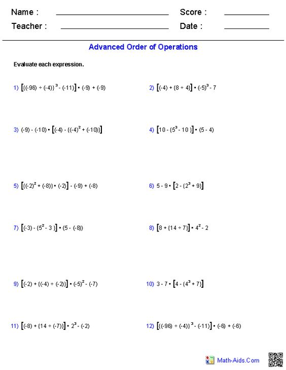Worksheet Advanced Order Of Operations Worksheets advanced order of operations problems math pinterest problems