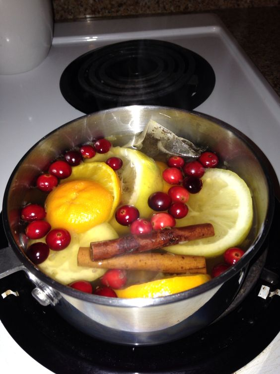 Holiday aroma brew!  Filled pot with hot water and added 1 bag of Christmas Tea, 1 sliced lemon, 1 sliced orange, 2 whole cinnamon sticks, and a handful of whole cranberries. My house smells amazing for Christmas Eve !