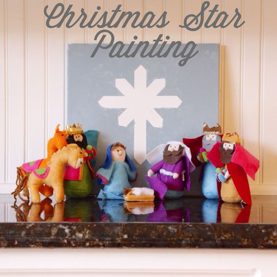 Christmas Star Painting. My three-year-old made this! Just use masking tape, then paint and peel.