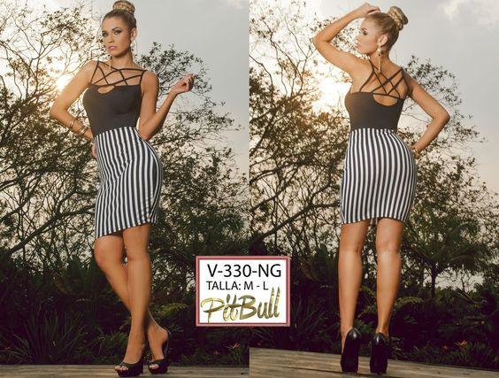 Vestido Colombianos PitBull   +Modelos en: http://www.ropadesdecolombia.com/index.php?route=product/category&path=77  #vestido #corto #noche #fiesta #rayas #ajustado #ropa #moda #blanco #negro