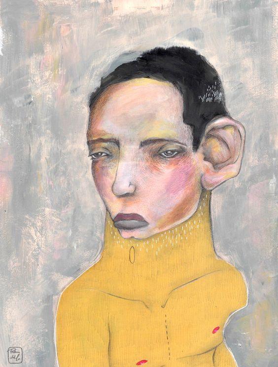 Amarelo   Ilustración por Bran Sólo (www.bransolo.com)  Retrato masculino, ilustración, acrílico, original, hombre, dibujo, pintura, retrato, mar, sea, man, men, drawing, illustration, painting, portrait