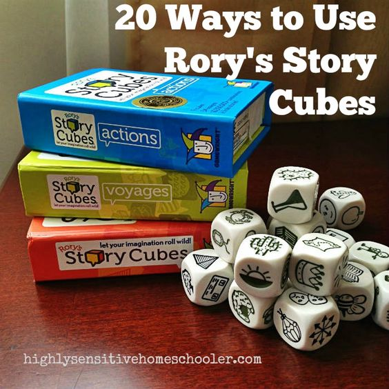 20 Ways to Use Rory's Story Cubes - The Highly Sensitive Homeschooler A great list of ways one can use story cubes, including as writing prompts or as a whole creative story!
