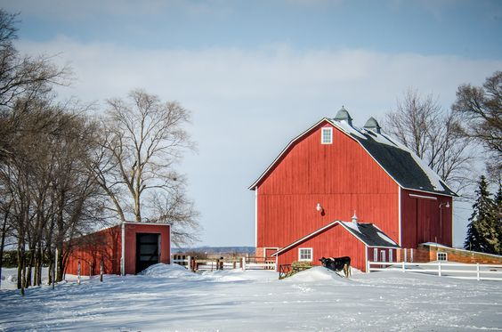 Red barn and out buildings in snow